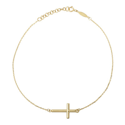 Infinite Gold™ 14K Yellow Gold Sideways Cross Ankle Bracelet