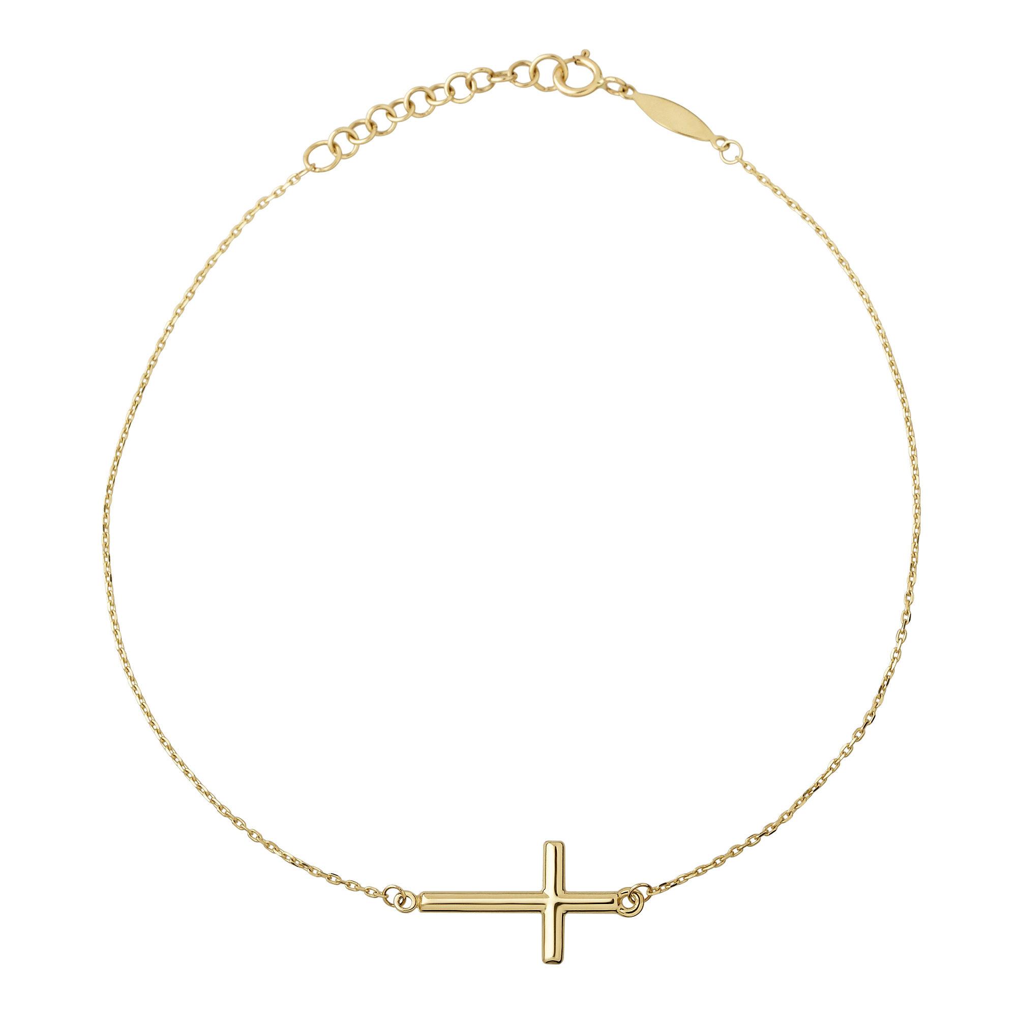 Infinite Gold™ 14K Yellow Gold Sideways Cross Ankle Bracelet