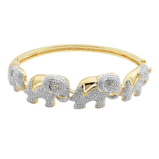 Diamond-Accent Elephant Hinged Bangle Bracelet