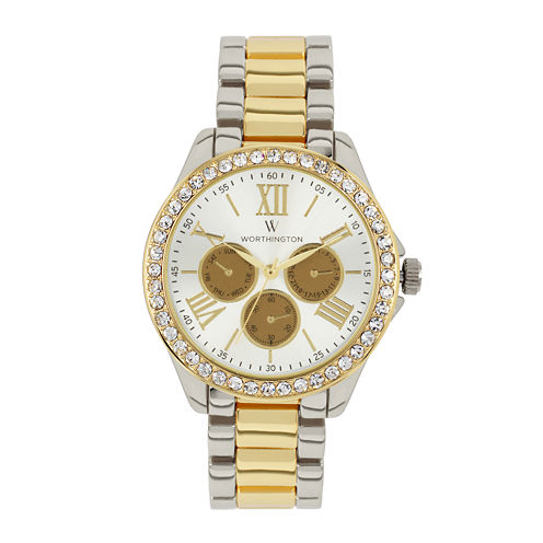 Worthington Womens Two Tone Bracelet Watch-Wt00006-04