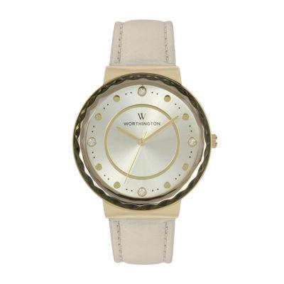 Worthington Womens Gold Tone Bangle Watch-Wt00026-01