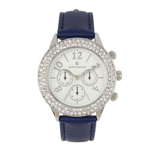 Worthington Womens Blue Bracelet Watch-Wt00027-01