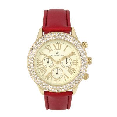 Worthington Womens Red Bracelet Watch-Wt00027-02