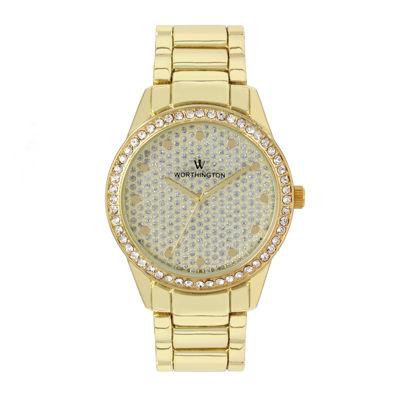 Worthington Womens Gold Tone Bracelet Watch-Wt00029-02