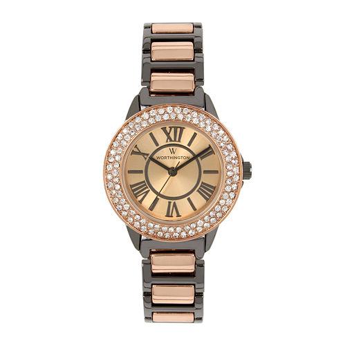 Worthington Womens Two Tone Bangle Watch-Wt00030-01