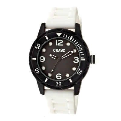 Crayo Unisex Splash White Strap Watch Cracr2201