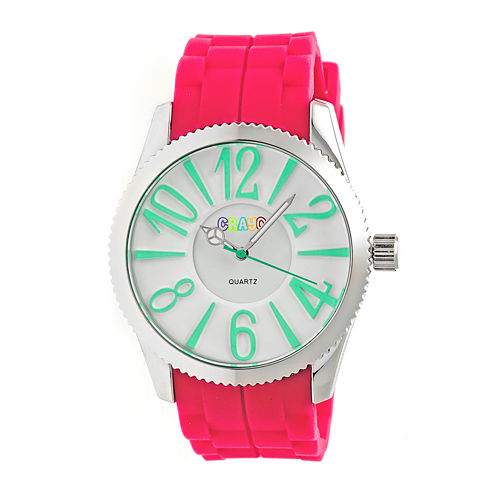Crayo Womens Magnificent Hot Pink Strap Watch CRACR2907