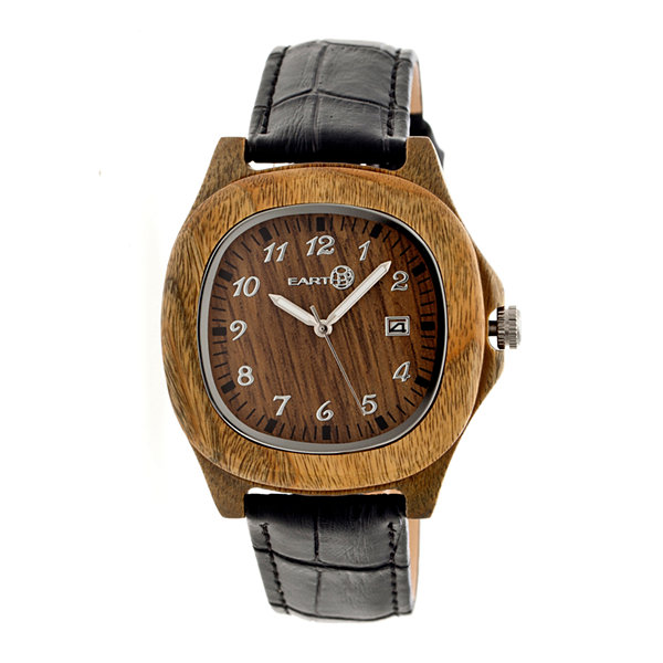 Earth Wood Sherwood Olive Leather-Band Watch with Date ETHEW2704