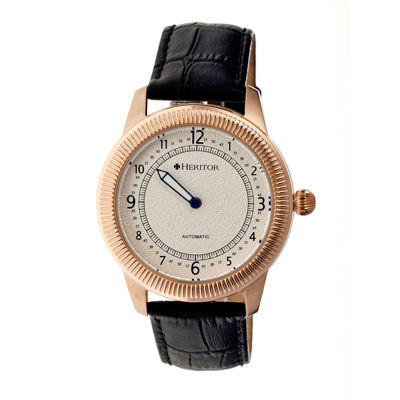 Heritor Automatic Hoyt One-Hand Mens Leather-Rose Gold/Silver Watches