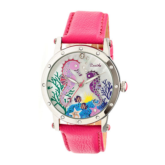 Bertha Morgan Womens Mother Of Pearl Dial Hot Pink Leather Strap Watch Bthbr4201