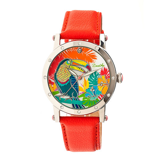 Bertha Gisele Womens Mother Of Pearl Dial Orange Leather Strap Watch Bthbr4402