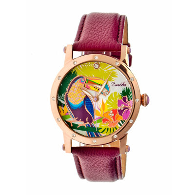 Bertha Gisele Womens Mother Of Pearl Dial Fuschia Leather Strap Watch Bthbr4404