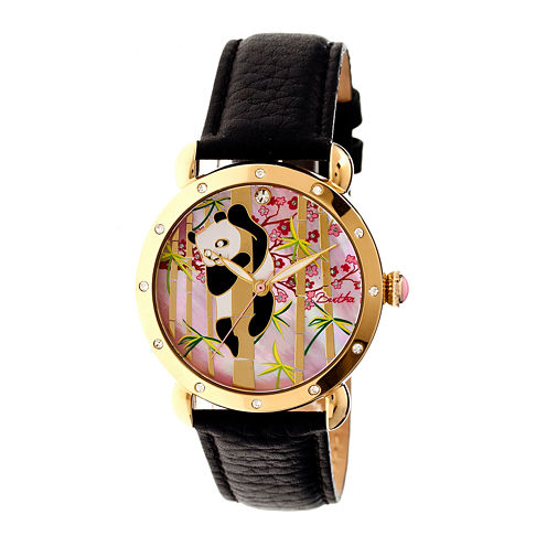 Bertha Lilly Womens Mother Of Pearl Dial Black Leather Strap Watch Bthbr4508