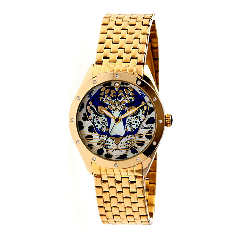 Bertha Alexandra Womens Gold Tone Blue Dial Bracelet Watch Bthbr4702