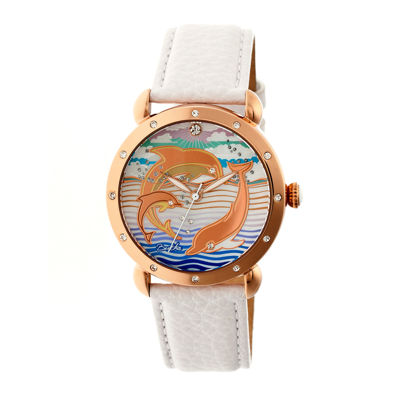Bertha Womens Estella Mother-Of-Pearl White Leather-Band Watchbthbr5105