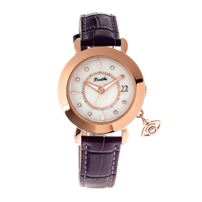 Bertha Womens Iris Mother-Of-Pearl Plum Leather-Band Watch With Datebthbr5303