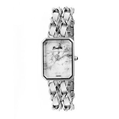 Bertha Womens Eleanor Stone-Dial Swiss Silver Bracelet Watchbthbr5901