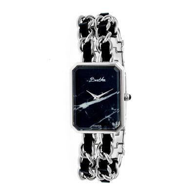 Bertha Womens Eleanor Stone-Dial Swiss Black Dial Silver Bracelet Watchbthbr5902