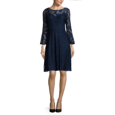 Studio 1® 3/4-Bell-Sleeve Lace Fit-and-Flare Dress