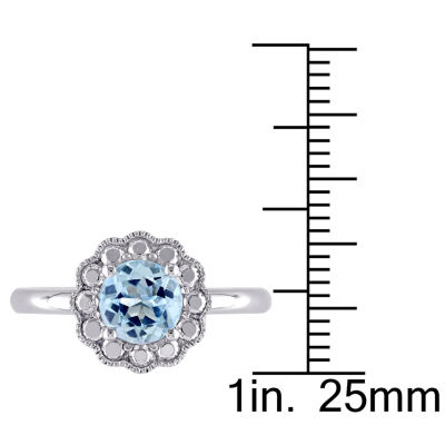 Womens Genuine Blue Blue Topaz 10K Gold Cocktail Ring