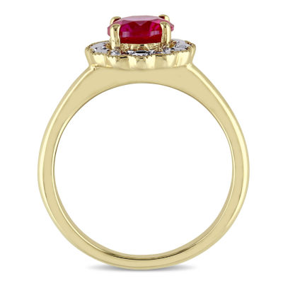 Womens Red Lab-Created Ruby 10K Gold Cocktail Ring