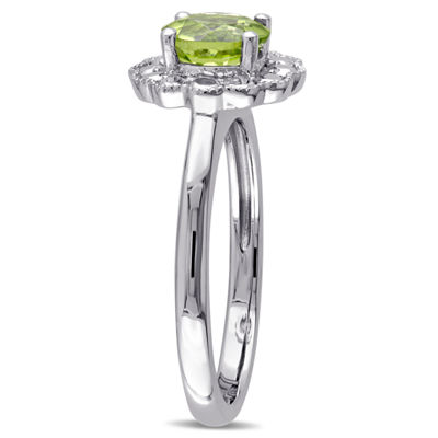 Womens Green Peridot 10K Gold Cocktail Ring