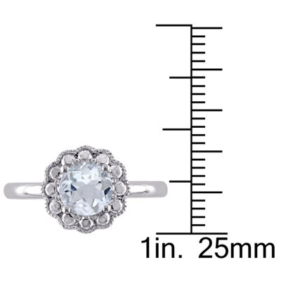 Womens Blue Aquamarine 10K Gold Cocktail Ring