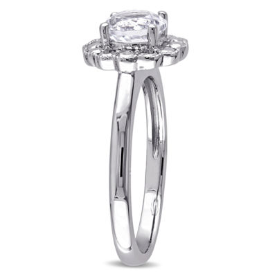 Womens Genuine White Topaz 10K Gold Cocktail Ring