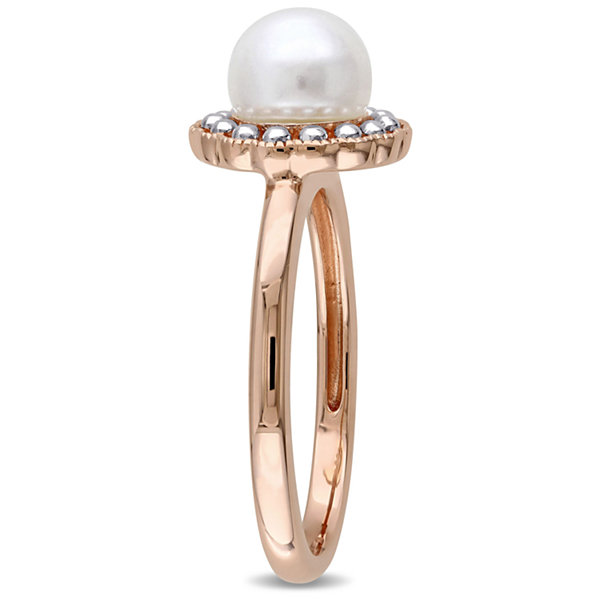 Womens Genuine White Pearl 10K Gold Cocktail Ring