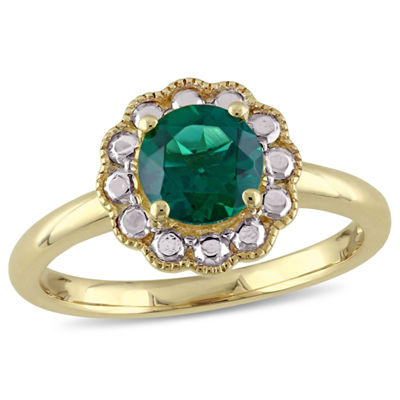 Womens Lab Created Emerald 10K Gold Cocktail Ring