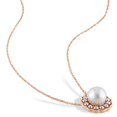 Womens 17 Inch White Pearl 10K Gold Link Necklace