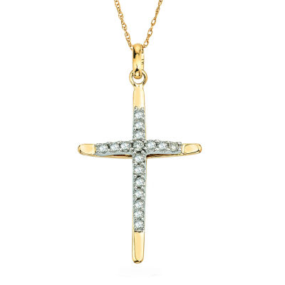 3/8 CT. T.W. Diamond 10K Two-Tone Gold Cross Pendant Necklace