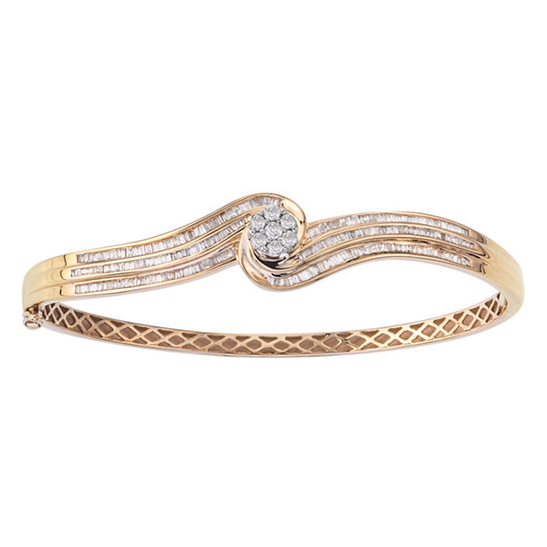 1 1/4 CT. T.W. Diamond Two-Tone 10K Gold Swirl Bangle Bracelet