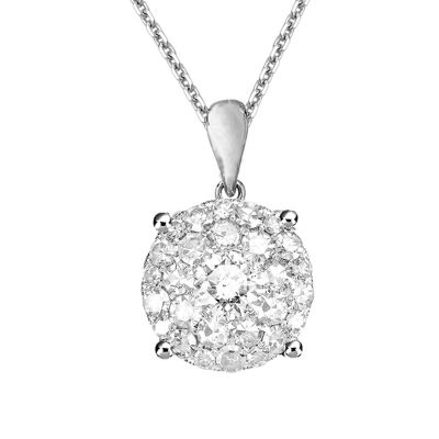 Womens 1/2 CT. T.W. White Diamond 14K Gold Pendant Necklace