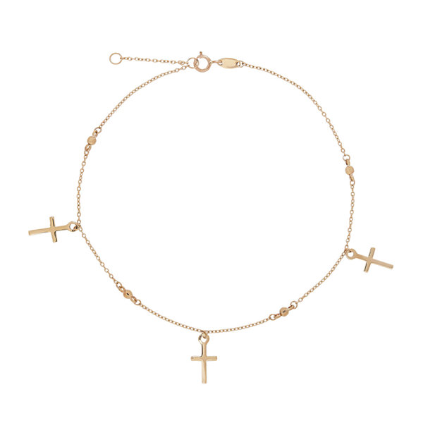 Womens 14K Gold Cross Dangle Ankle Bracelet