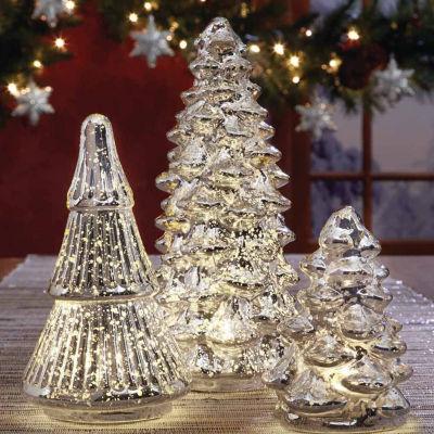 Apothecary Led Mercury Glass Tree 3-pc. Flameless Candle