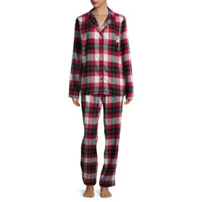 Sleep Chic Flannel Notch Collar Pant Pajama Set