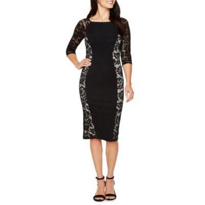 La Cite 3/4 Sleeve Floral Bodycon Dress
