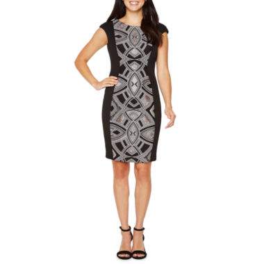 Melrose Short Sleeve Embellished Sheath Dress