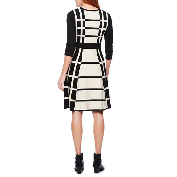 Liz Claiborne Cut Outs 3/4 Sleeve Sweater Dress