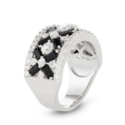 Womens Lab Created Black Spinel Sterling Silver Cocktail Ring