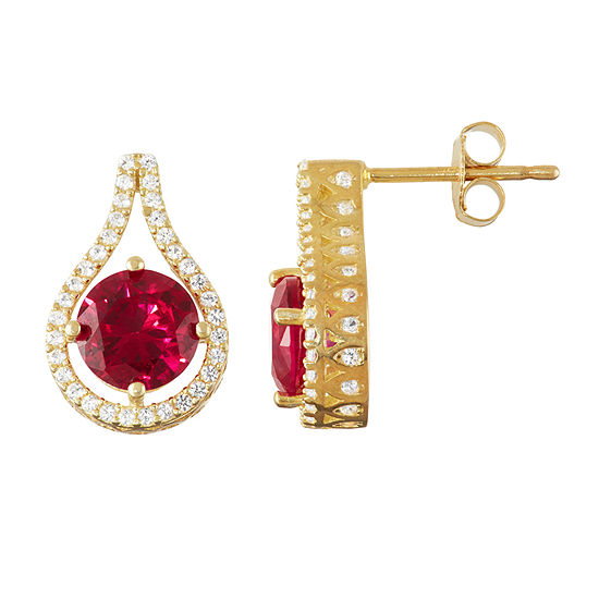 Lab Created Red Ruby 14K Gold Over Silver 16mm Round Stud Earrings