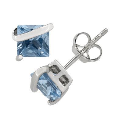 Lab Created Blue Aquamarine Sterling Silver 6.1mm Stud Earrings