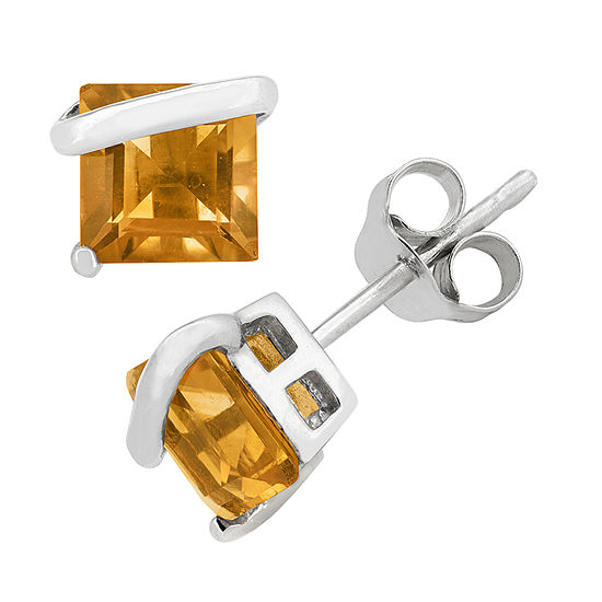 Genuine Yellow Citrine Sterling Silver 6.1mm Stud Earrings