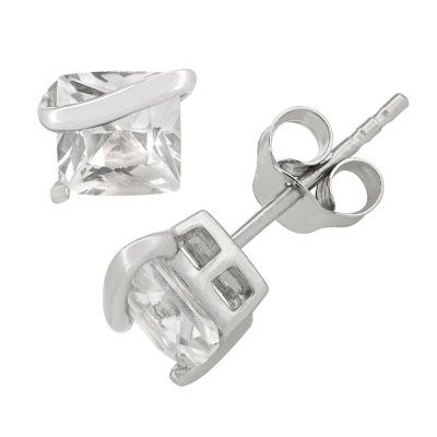 Lab Created White Sapphire Sterling Silver 6.1mm Stud Earrings