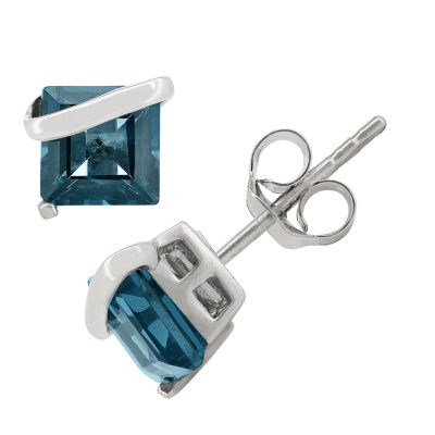 Princess Blue Blue Topaz Sterling Silver Stud Earrings