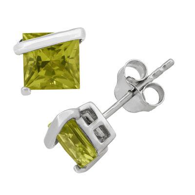 Genuine Green Peridot Sterling Silver 6.1mm Stud Earrings