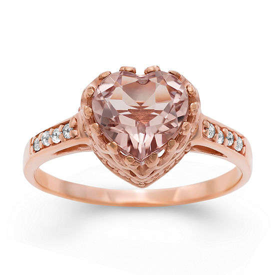 Womens Simulated Pink 14k Rose Gold Over Silver Heart Cocktail Ring