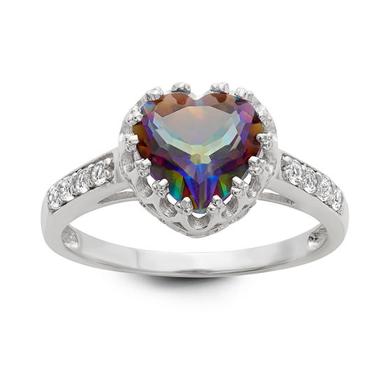 Womens Genuine Mystic Fire Topaz Sterling Silver Heart Cocktail Ring