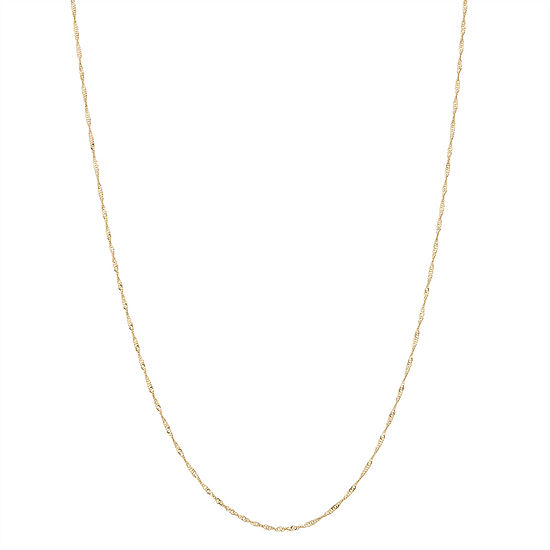 10K Gold 22 Inch Semisolid Singapore Chain Necklace